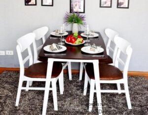 bộ bàn ăn 4 ghế 502t trắng