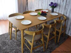 bộ bàn ăn 6 ghế 501t vàng