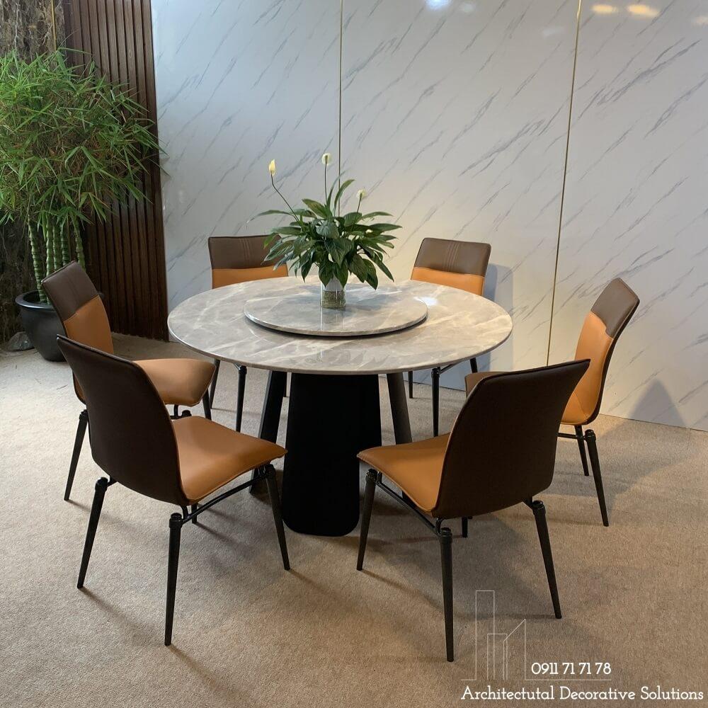 bàn ăn mặt đá tròn, bàn ăn cao cấp, nội thất phòng ăn