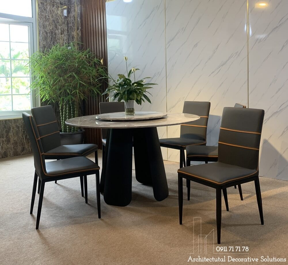 bàn ăn mặt đá tròn, bàn ăn đẹp cao cấp, nội thất phòng ăn
